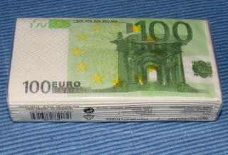 10 Taschentücher - 100 Euro Scheine