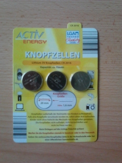 Knopfzellen 3v cr 2016 cr2016 3 Stück